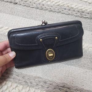 COACH Black Leather Kisslock Long Wallet